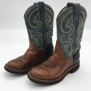 Roper Embroidered Blue + Brown Cowboy Boots